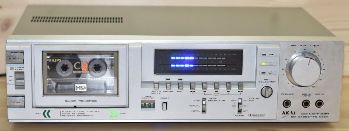ΚΑΣΕΤΟΦΩΝΟ 2HEAD DECK AKAI CS-F33R AUTOREVERSE silver - FULL SERVICED