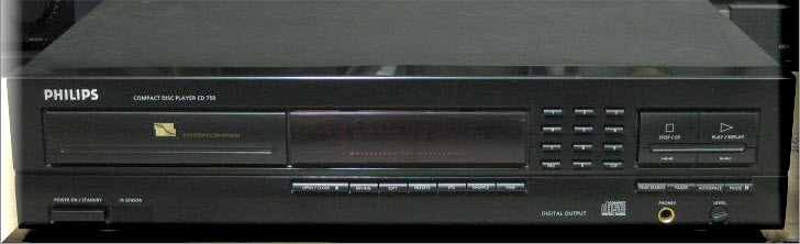 * PHILIPS CD750 CD PLAYER black COAXIAL OUT
