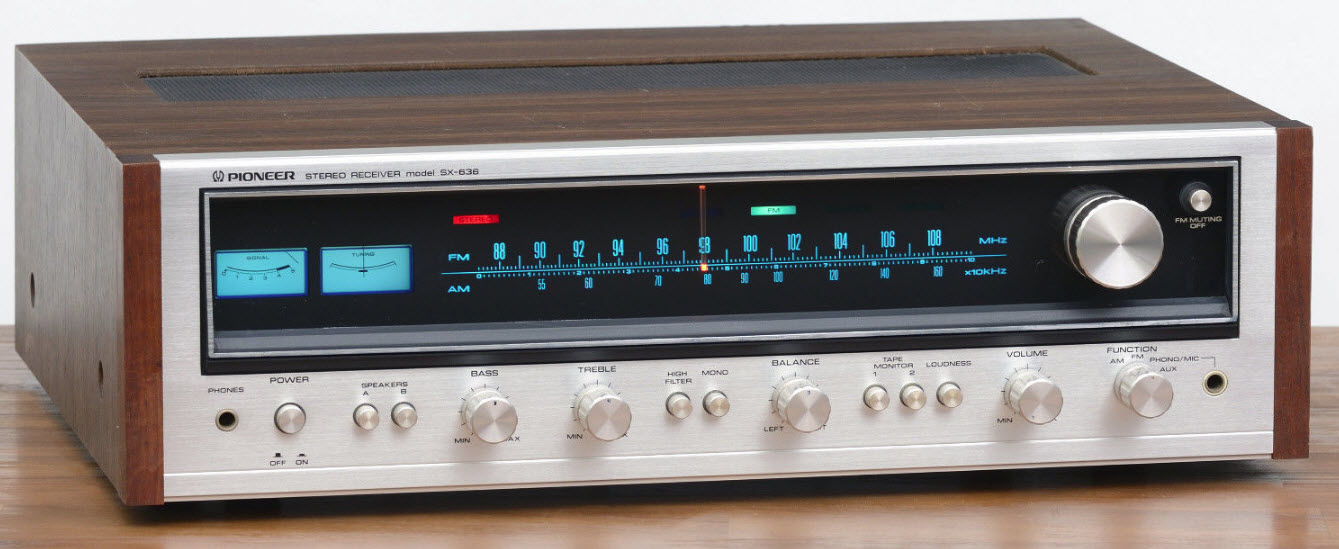 RECEIVER PIONEER SX-636 silver wood