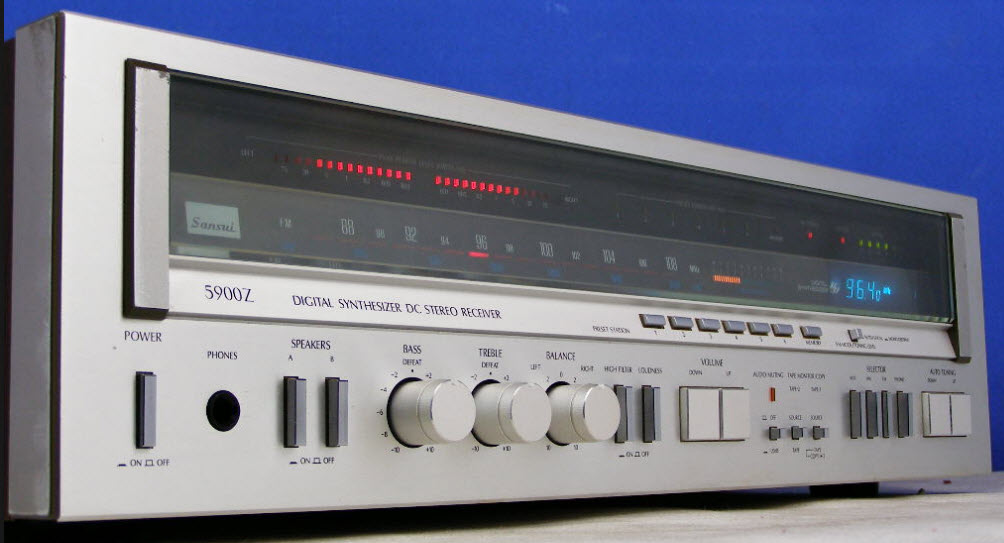 SANSUI 5900Z ΡΑΔΙΟΕΝΙΣΧΥΤΗΣ ANALOG DIGITAL DISPLAY silver wood - MINT