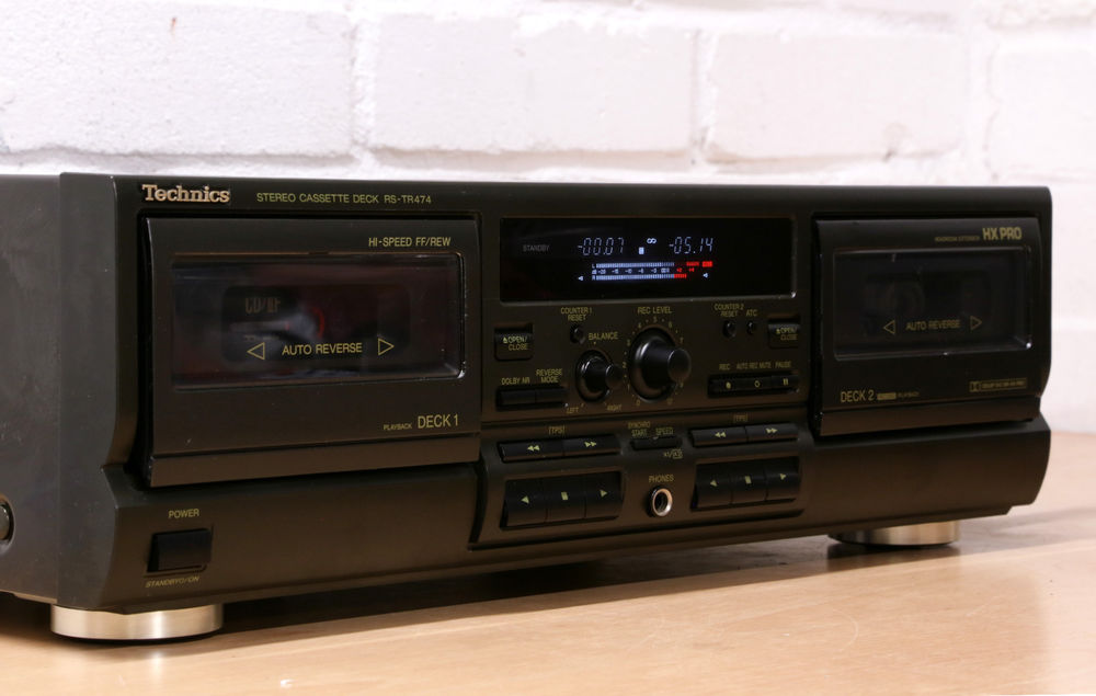 TAPE DECK 2HEAD DOUBLE TECHNICS RS-TR474 black - FULL SERVICED